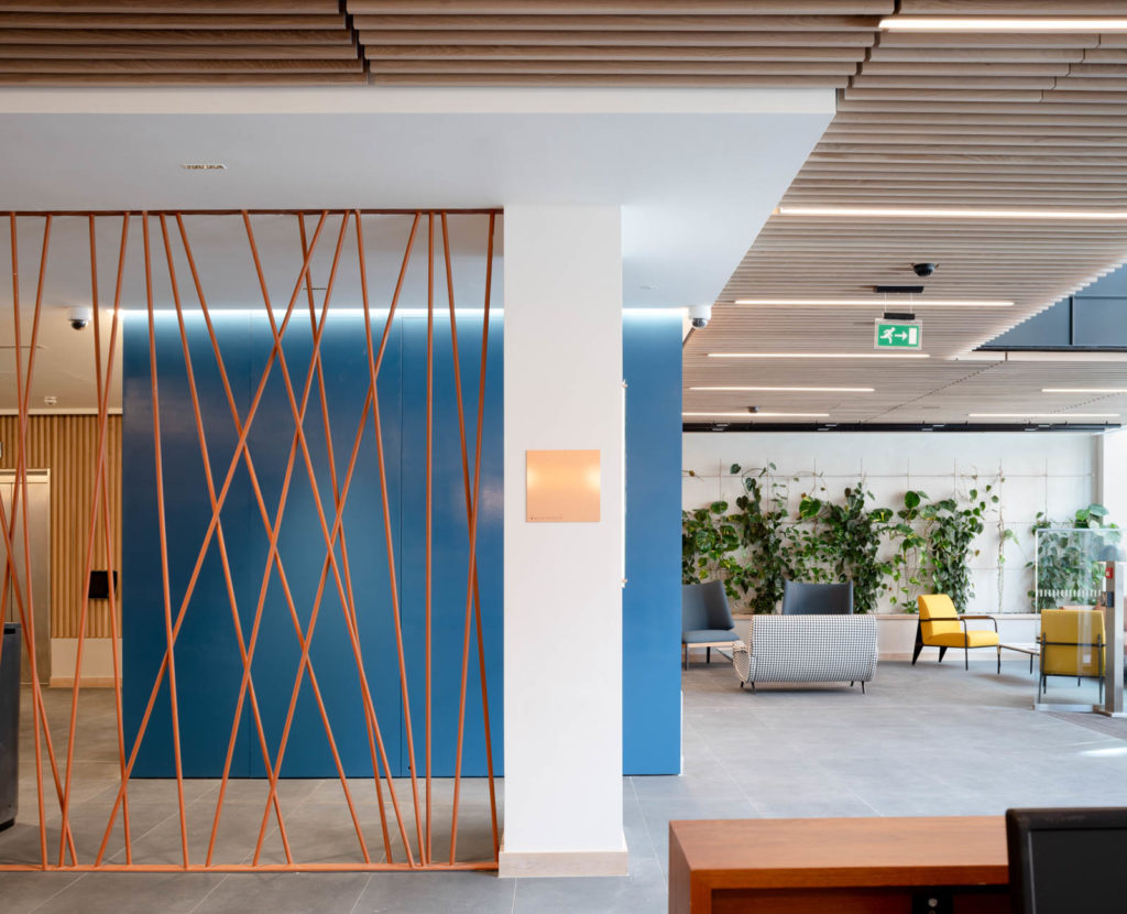 Wall panelling in blue to Reception Area